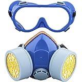 Leeko Mascarilla Respiradora de Gafas- Anti-polvo de Gas Chemical con Doble Cartucho Máscara de Pintura Filtro Gafas Set (Azul)