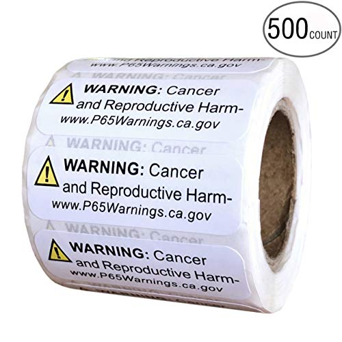 Prop 65 kalifornische Warnhinweisetiketten, 500 Stück, 12,7 x 3,8 cm, ideal für Produkte und Verbraucher-Warnungen, CA 2018 Edition Hinweis Aufkleber für Krebs und Geburtsfehler