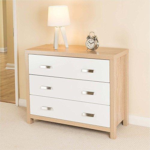 Modern Schlafzimmer Kommode 3 Schubladen, Holz, weiß, Eiche Bewirken Anrichte - Christow
