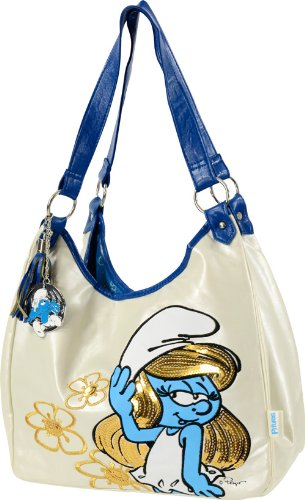 United Labels 0807594 - Borsa donna fashion Puffetta Puffi - con pendolo Puffi - bianca e blue - dettagli in cucitura