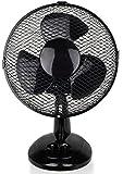 Ventilator Ø23 cm 25 Watt | Tischventilator | Rotation zuschaltbar | oszillierend | leiser Betrieb | Windmaschine | Luftkühler | Lüfter | 2 Stufen | Neigungswinkel verstellbar