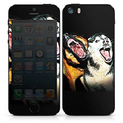 Apple iPhone 4 Case Skin Sticker aus Vinyl-Folie Aufkleber Bellende Hunde Hund Wölfe DesignSkins® glänzend
