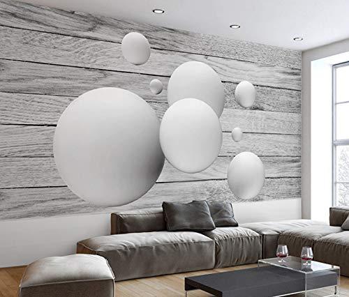 Zybnb Benutzerdefinierte Wandbild Tapete Home Moderne Einfache 3D Geometrische Runde Ball Holzmaserung Wohnzimmer Sofa Tv Hintergrund Wanddekor Malerei