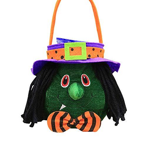 VSTON Halloween Kinder Süßigkeitstasche für Kind Sweet Bags Dekoration Süßigkeitskorb Box mit Handschlaufe, Hexentasche