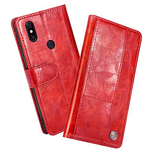 Scheam Funda Compatible para Xiaomi Mi Mix 3 PU Cuero Libro Carcasa con Flip Case Cover,Función de Soporte, Billetera con Tapa Tarjetas para Xiaomi Mi Mix 3 Rojo