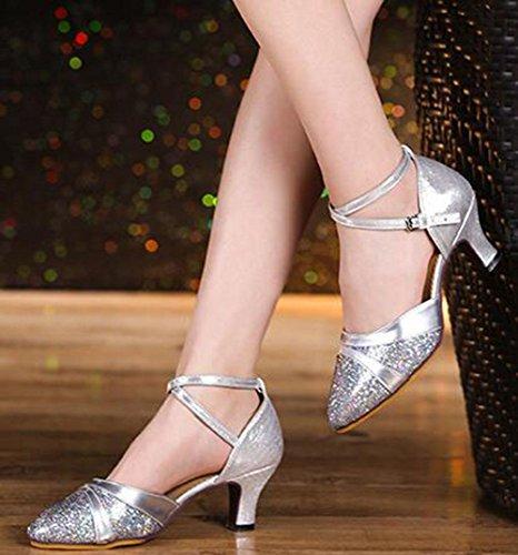 KUKI Scarpe da ballo latino Scarpe da ballo per adulti femminili con scarpe da ballo dal basso morbido US7.5 / EU38 / UK5.5 / CN38