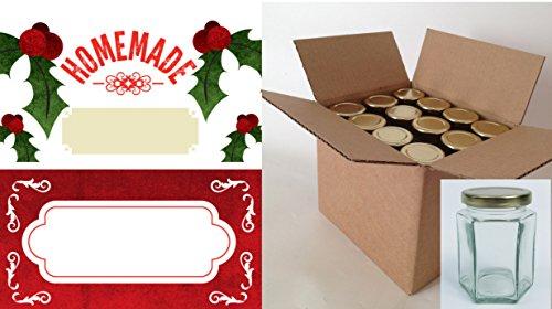 Nutley's Lot de boîte de pot de confiture de Noël Plus étiquettes, Lot de 24
