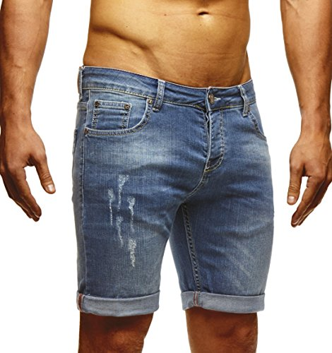 Leif nelson–pantaloncini in jeans da uomo ln1397 blau 38w