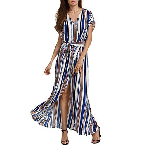 Kleider Damen Dasongff Damen Strandkleid Elegant Langarm V-Ausschnitt Maxikleid Gedruckt Lange...