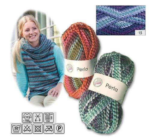 Grundl Perla Wolle_13 aus 100% Polyester 100 Gramm meliert Blau Türkis Lila -