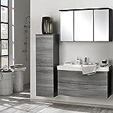 Badmöbel Set Eiche Rauchsilber graphitgrau Waschtisch Badezimmer Badezimmermöbel LED Spiegelschrank