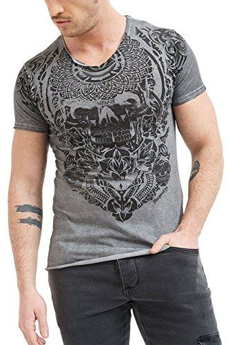 trueprodigy Casual Herren Marken T-Shirt mit Aufdruck, Oberteil cool und stylisch mit V-Ausschnitt (Kurzarm & Slim Fit), Shirt für Männer Bedruckt Farbe: Anthra 1062137-0403-M