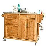 SoBuy Luxus-Carrito de cocina con piso de acero, estantería de cocina, carrito de servir de bambú de alta calidad L129xP46xA91cm, FKW14-N.ES