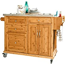 SoBuy® Luxus-Carrito de cocina con piso de acero, estantería de cocina, carrito de servir de bambú de alta calidad L129xP46xA91cm, FKW14-N.ES