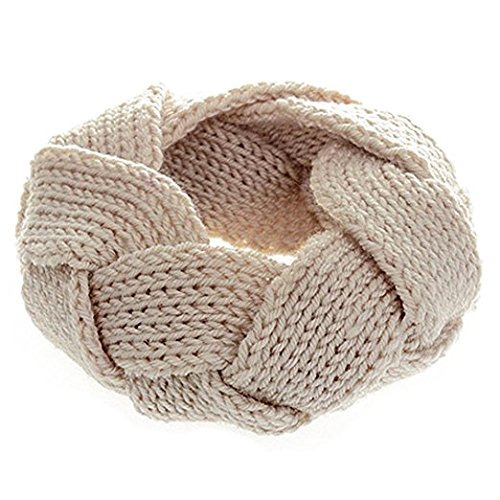 Fashion Crochet Strick Headwrap Haarband beige