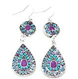 Fablcrew Boemia orecchini moda colorato Bead gocce orecchino gancio per donne ragazze gioielli present