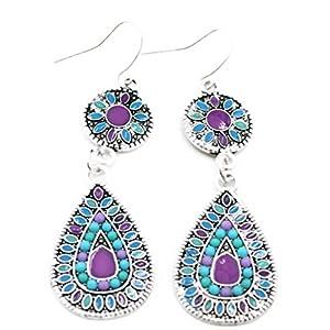 Outflower Un paio di stile nazionale della Boemia gocce d'acqua di colore orecchini orecchini lunghi gioielli femminili regalo di compleanno