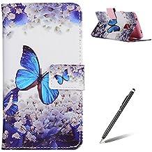 Funda de cuero PU para Samsung Galaxy S5,Cierre Magnético,Función de Soporte,Billetera con Tapa para Tarjetas,Anti-rasguños,Protección Total del Cuerpo Bumper Case - Mariposa Azul