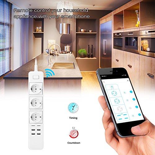VIFLYKOO Enchufe Inteligente WiFi (3 outlet with 4 USB) Inalámbrico Socket con Control Remoto Inteligente, Temporizador y Puerto USB, WiFi Smart Plug Ofrece Aplicaciones Compatibles con Android e iOS Smartphone
