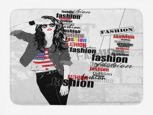CHKWYN USA Bath Mat, A Modern Teen Girl with USA Flag T-Shirt Fashion Obsession Beauty in The Street, Plush Bathroom Decor Mat with Non Slip Backing, White Black Red,20X31 inch