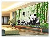 Fototapete Foto Fototapete Benutzerdefinierte Foto 3D Tapete Wandbild Vlies Panda Bambus Wald Kieselstein Hintergrund Wandmalerei Wohnzimmer Tapete Für Wände 3D, 350Cmx245Cm