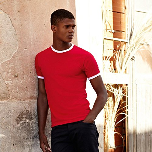 Fruit of the Loom - Kontrast T-Shirt 'Ringer T' White/Red