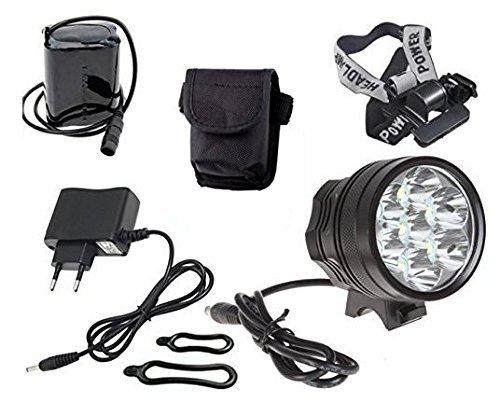Theoutlettablet® koplamp - Fiets frontaal kijker tot 12000 lumens max LÁMPLuARA toortsflitslicht CREE XM-L 9x 9x T6 LED fietslicht / fiets LED lamp z Voor fietsstuur (9 lampen) batterij, hoofdband en lader COLOR ZWART ...