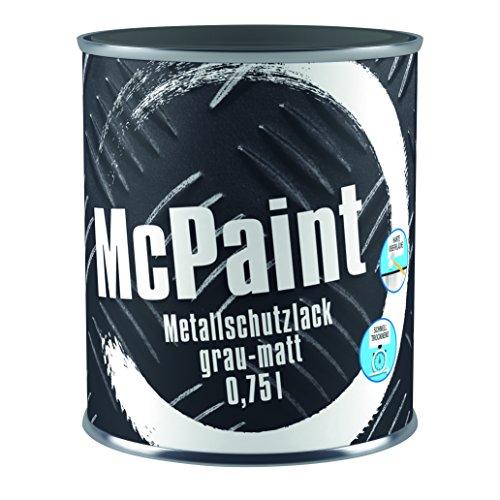 McPaint Metallschutzlack für innen und außen, matt, wasserverdünnbar, dunkelgrau, 0,75 L