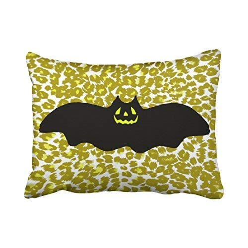 nbez¨¹ge Cushion Cover Custom Halloween Bat On Golden Leopard Spots Throw Pillow Covers Cushion Cover Case 20X30 Inches Pillowcases,Eco-Friendly Print ()