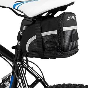 BV Bicicletas Bolsa, Alforjas, Mochilas para Sillin, tija o asiento tresero de Bicicleta. (Talla M)
