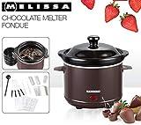 Melissa 16310178 Schokoladen-Fondue-Set, Schokoschmelzer, viel Zubehör, 4 Personen,Keramiktopf,70 Watt,Pralinen,Geschenk, ceramic, braun - 5