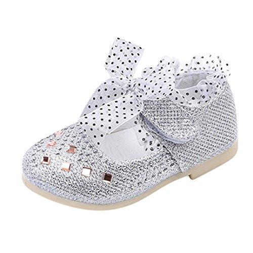 JERFER Neugeborene Baby Mädchen Pailletten Spitze Prinzessin Schuhe Krippe Krabbel Schuhe Tanzender Schuh 0.5-3T/Jahre alt (2~2.5T, Silber)