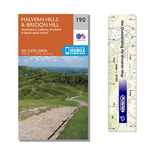 Ordnance Survey Pack - Explorer Map 190 ~ Malvern Hills & Bredon Hill plus scale ruler