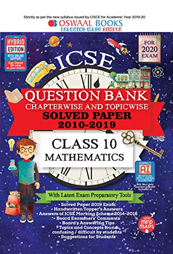Oswaal ICSE Question Bank Class 10 Mathematics Chapterwise & Topicwise (For  March 2020 Exam)