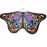 Dorical Schmetterling Schal Mädchen/Frauen Karneval Kostüm Schmetterlingsflügel feenhafte Nymphe Pixie Halloween Cosplay Kinder Schmetterlingsf Cosplay Butterfly Wings Flügel Faschingskostüme