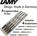 LAMY 205 logo Kugelschreiber Comfort-Set (+ extra Ersatzmine (Stiftfarbe), Alle 4 Farben)