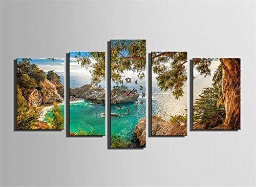 mdz-5-pcs-vues-du-golfe-creative-avec-horloge-peinture-decorative-giclee-canvas-prints-frameless-pei