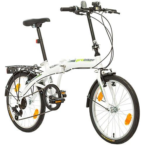 Multibrand, PROBIKE FOLDING 20, 20 Zoll, 310 mm, Folding City Bike, 6 Geschwindigkeit, Unisex, Vorne + Hinten Kotflügel, Shimano, Komplett montiert (Grün)