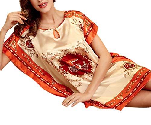 Huixin Nachthemd Damen Klassiker Cooles Silk Print Elegant Nachthemd Einzelner Batsuit Loser Pyjama Negligee Nachtwäsche (Color : B Orange, Size : One - Batsuit Kostüm