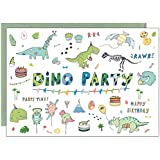 the lazy panda card company 15 Eco-Friendly 'Dino Party' Dinosaur Birthday Invitations for Children or Dinosaur Enthusiasts (With Envelopes)