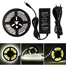 LEDMO Tiras de LED, Tiras de LED Blanco, SMD5630-300led 25Lm/led 5 metros de largo, el doble de brillo, tiras de led interior,de alto rendimiento de color, CRI80, proteger los ojos, hogar iluminación ambiental. (Blanco-IP20 no impermeable-300led KIT)