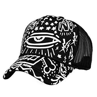 LOCOMO Black White Abstract Art Graffiti Big Eye Mesh Back Snapback Cap FFH180