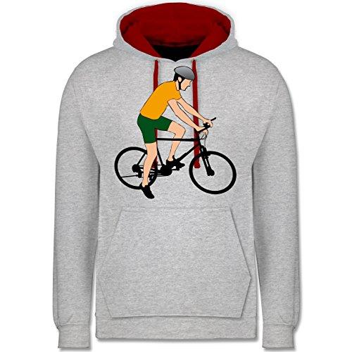 Radsport - Fahrradfahrer Citybike Radfahrer - Kontrast Hoodie Grau Meliert/Rot