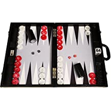 "Wycliffe Brothers 21"" Tournament Backgammon Set - Black Croco Board with Grey Field - Gen III"