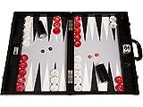 Wycliffe Brothers Backgammon-Turnierset - Schwarzes Kroko mit grauer Spielfläche - Gen III