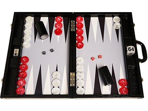 Preisvergleich Produktbild Wycliffe Brothers Backgammon-Turnierset – Schwarzes Kroko mit grauer Spielfläche – Gen III