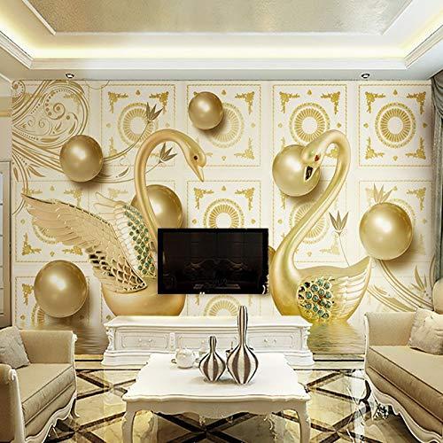 LONGYUCHEN Benutzerdefinierte 3D Seide Wandbild Tapete Dreidimensionale Muster Gold Ball Schwan Geeignet Für Schlafzimmer Wohnzimmer Tv Hintergrund Wand Dekoration Wandbild,60Cm(H)×120Cm(W)
