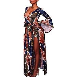 Carolilly Robe Fendue Femme Maxi Longue Chic Sexy avec Short Haut-Parleur Manches Motifs vifs pour Soirée Club Cocktail Danse Plage, Bleu, 38