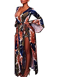 Carolilly Robe Fendue Femme Maxi Longue Chic Sexy avec Short Haut-Parleur  Manches Motifs vifs b4bca80c8e58