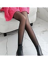 &zhou Dobles en otoño e invierno gruesas polainas medias moda , gray , one size